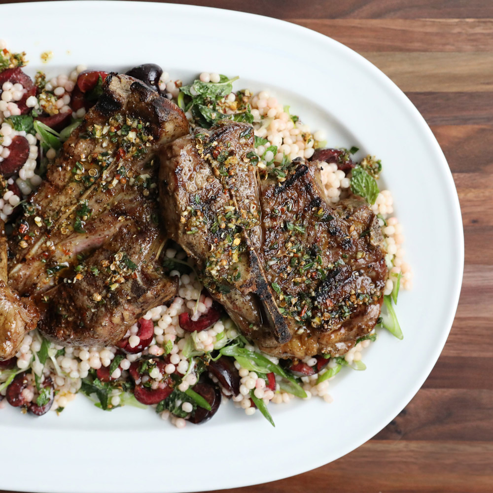 Lamb Blade Chops with Cherry and Pickled Fennel Couscous