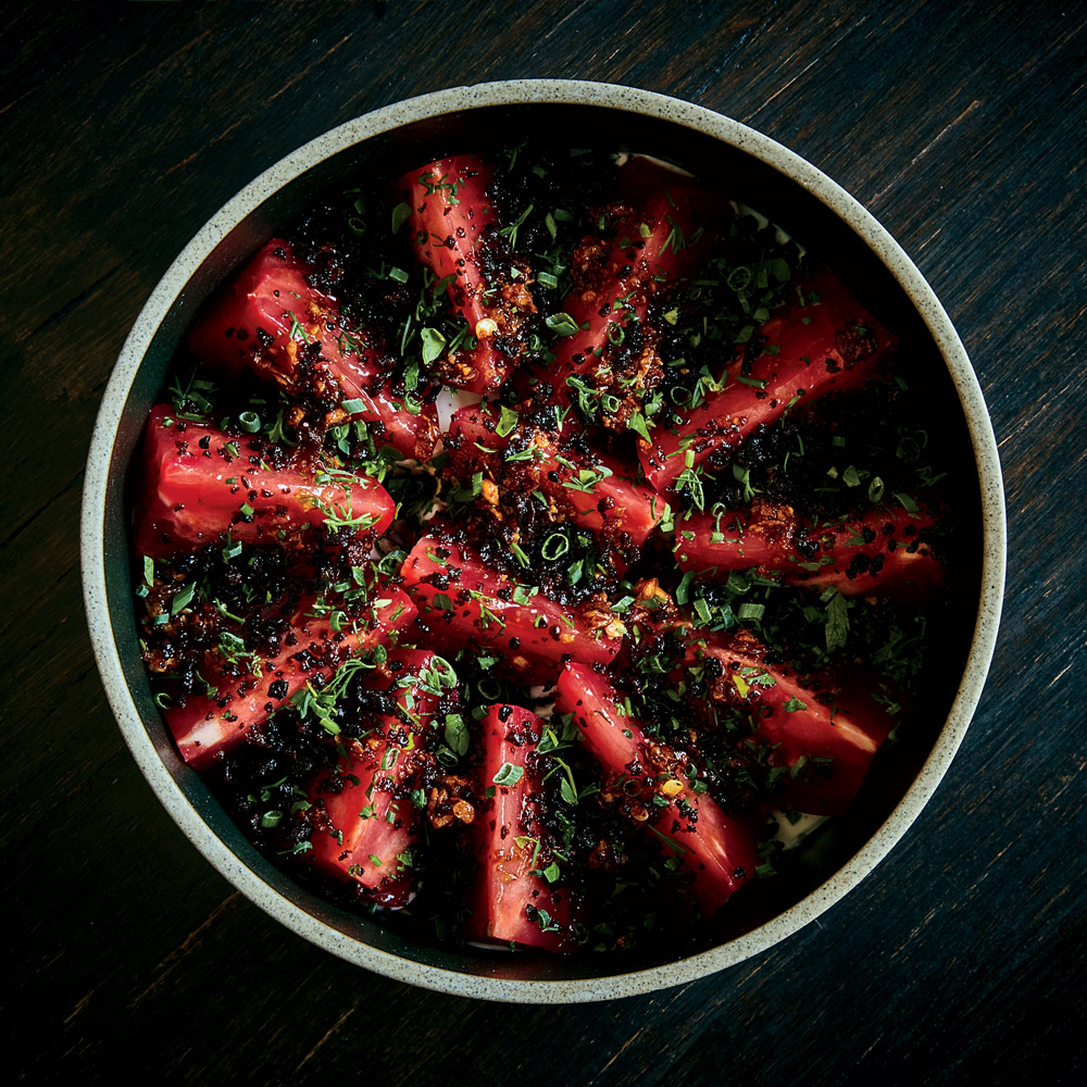 Tomatoes with Bagna Cauda and Chinese Sausage