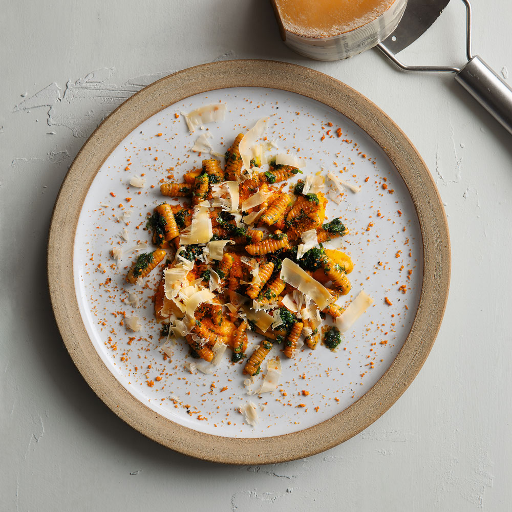 Carrot Juice Cavatelli, Tops Salsa & Spiced Pulp Crumble
