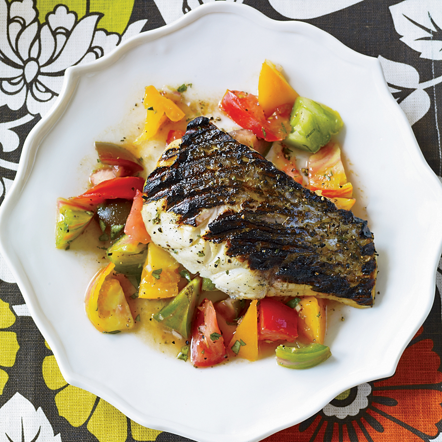 Grilled Striped Bass with Indian-Spiced Tomato Salad. Photo © Antonis Achilleos