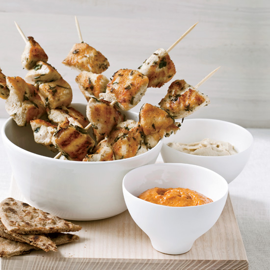 Herb-Marinated Chicken Skewers with Harissa