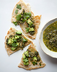 Monterey Jack Quesadillas with Avocado and Kale-Pistachio Salsa Verde