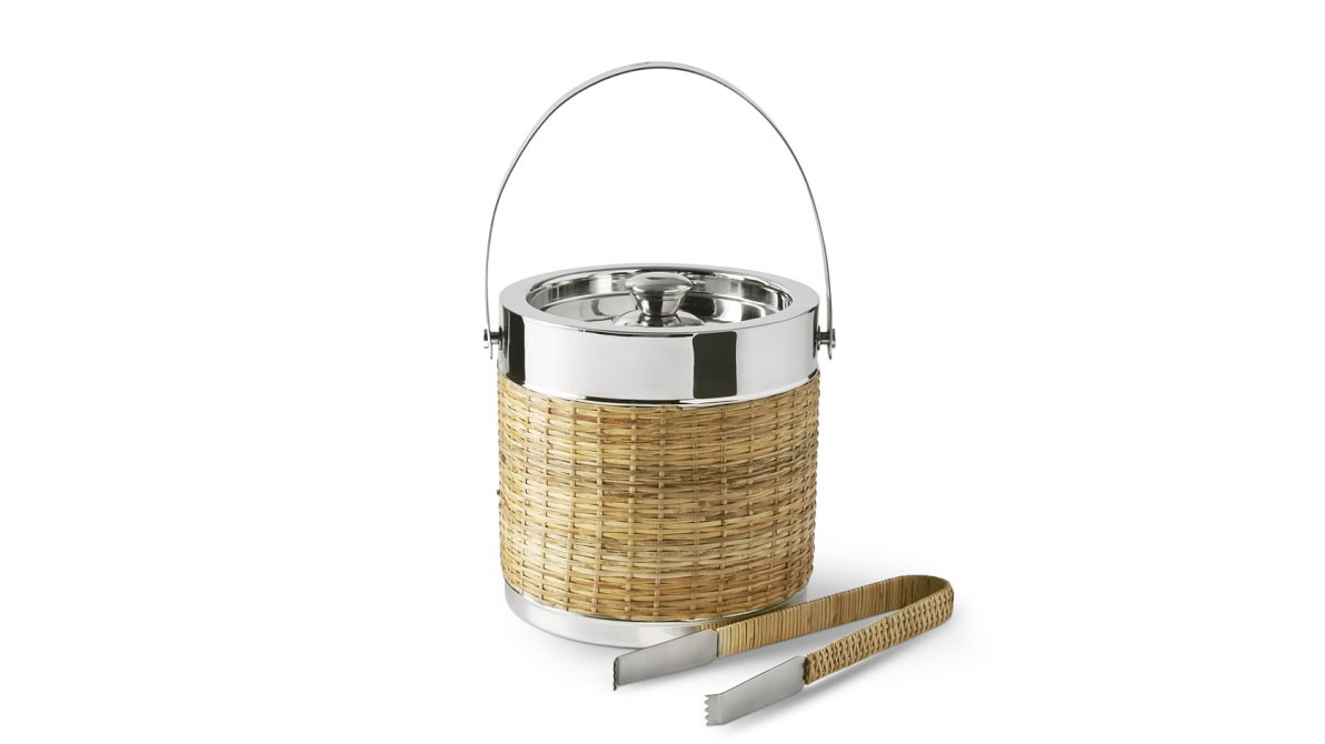 Williams Sonoma AERIN Woven & Silver Ice Bucket with Tongs