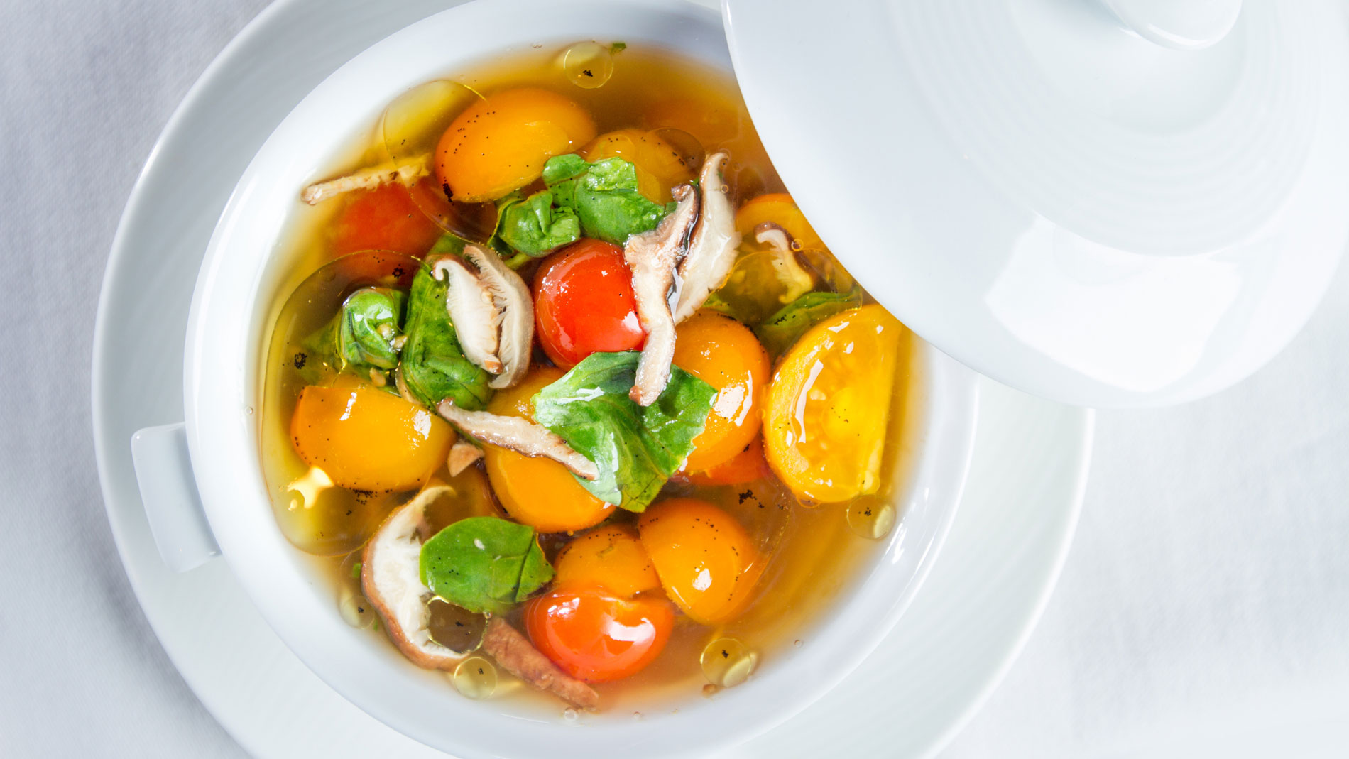 Warm Heirloom Tomato Broth