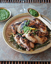 Day 25: Grilled Cornish Hens with Salsa Verde