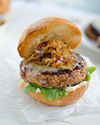 Crispy Quinoa Burgers with Gruyère and Caramelized Onions