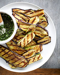 Grilled Eggplant and Zucchini Salad with Salsa Verde