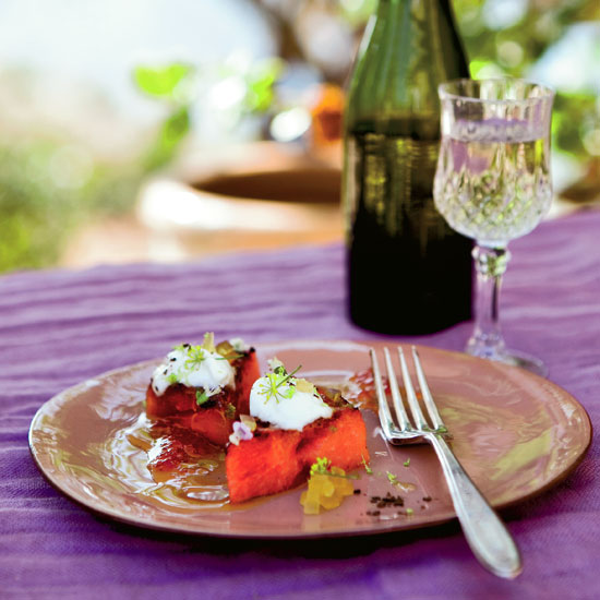 Grilled Watermelon with Yogurt