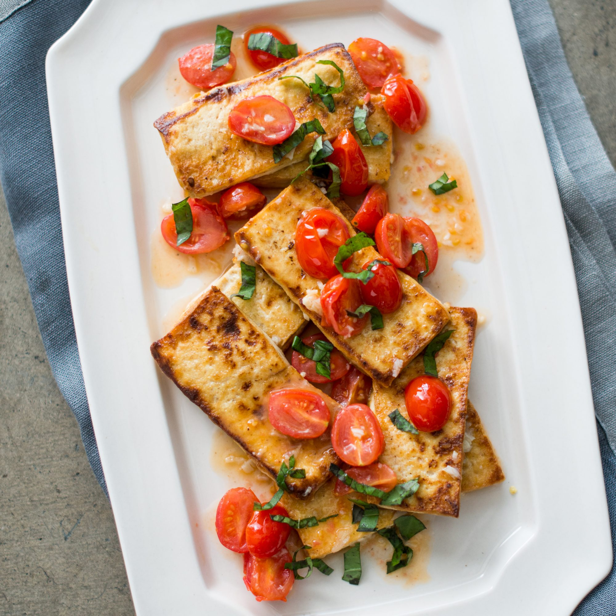 Tofu with White Wine-Cherry Tomato Compote