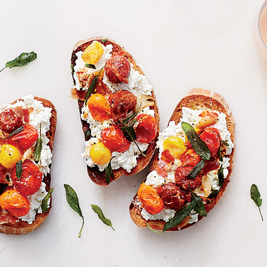 Ricotta and Roasted Tomato Bruschetta with Pancetta