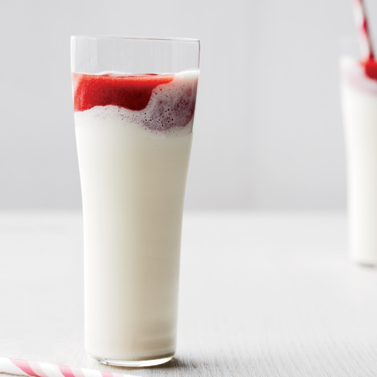 Frosty Strawberry-and-Cream Milkshakes