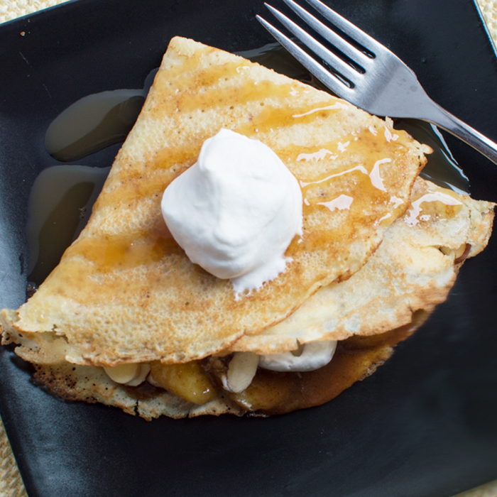 Amaretto and Banana Brown Butter Crepes