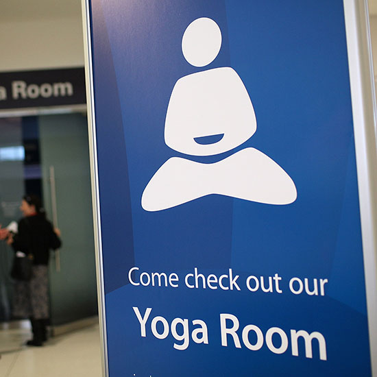 Strike a pose in the yoga room at San Francisco International Airport.