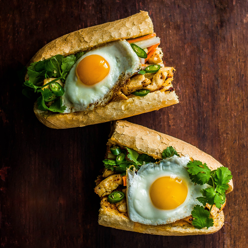 Stacked, eggs, egg recipes, breakfast, banh mi