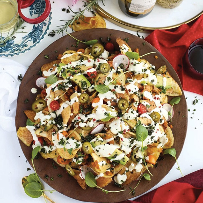 Veggie Heavy Lentil Potato Chip Nachos