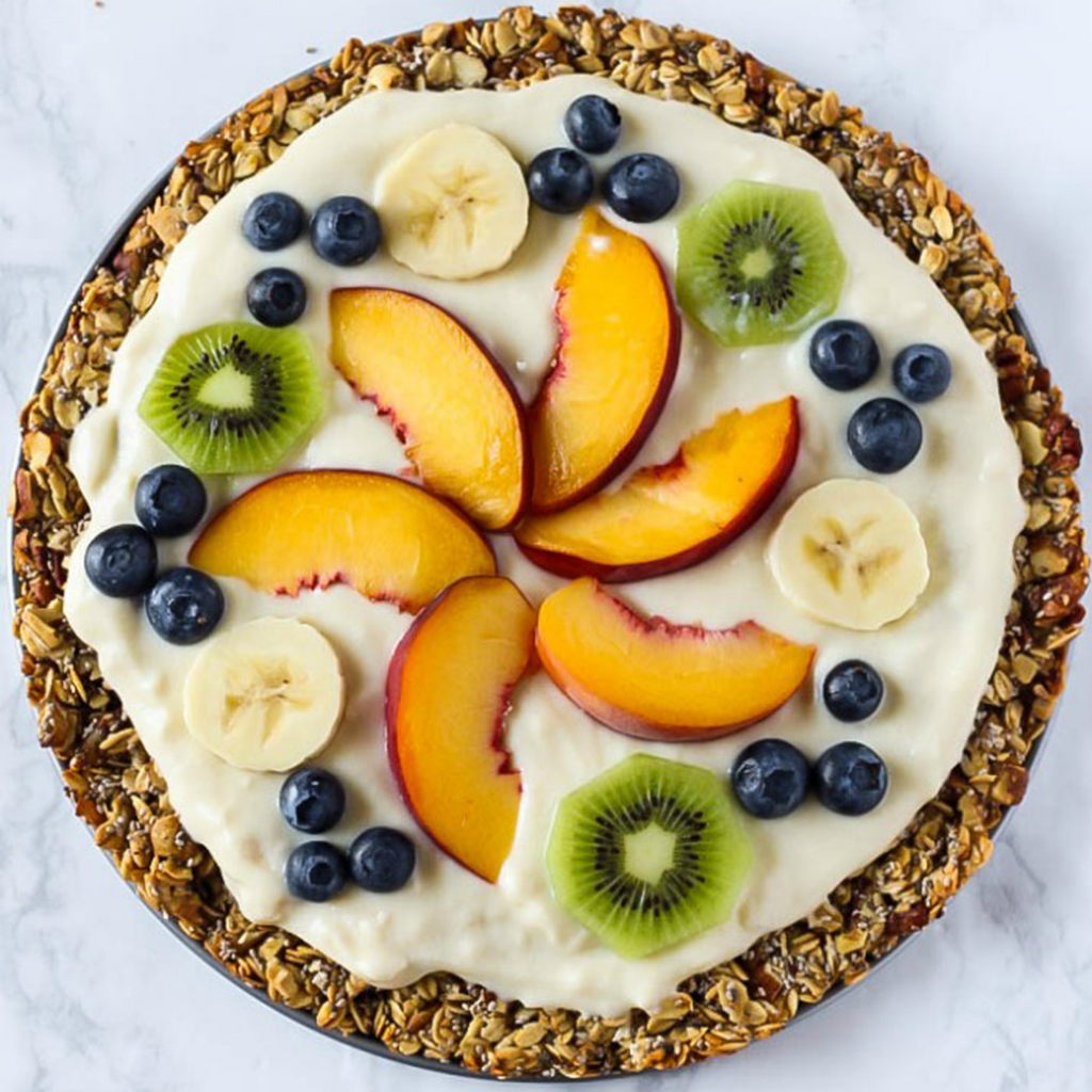 breakfast pizza, breakfast, pizza, fruit, yogurt