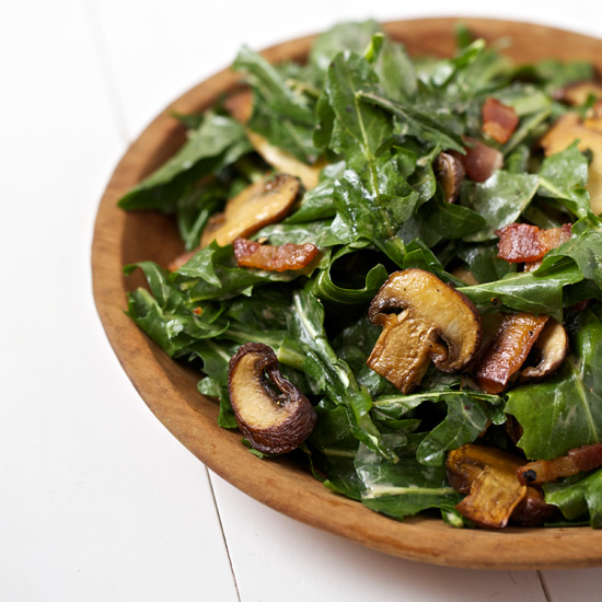 Dandelion Salad with Bacon and Mushrooms