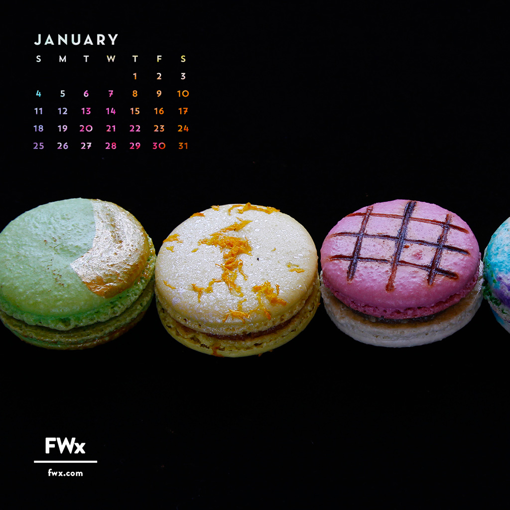 FWX CALENDAR JANUARY MACARONS FIXED
