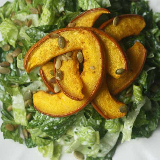 Cumin Roasted Pumpkin Salad with Creamy Cilantro Dressing