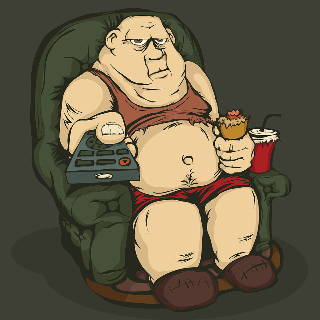 FWX FAT MAN WATCHING TV