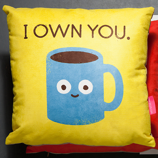 Ohh Deer Coffee Talk Cushion By David Olenick