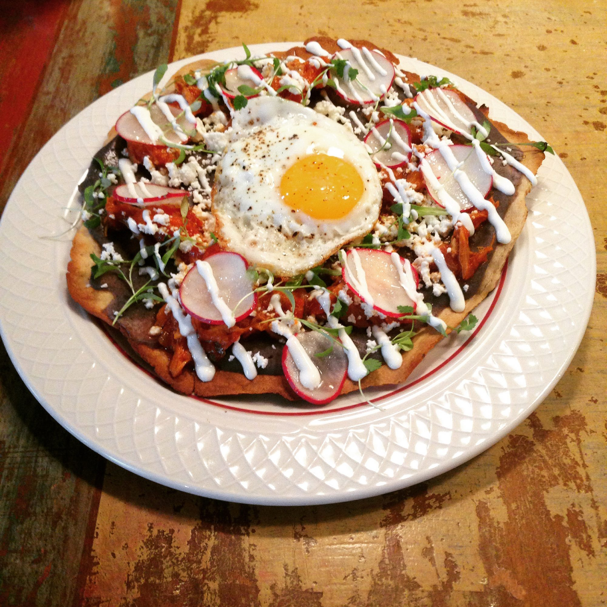The Tlayuda (Tortilla with Fried Eggs, Queso and Chorizo)
