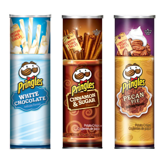 Pringles White Chocolate, White Chocolate Peppermint, Cinnamon & Sugar, Pumpkin Pie Spice, Pecan Pie, Milk Chocolate, Cinnamon Sugar Tortillas (and maybe more to come?)