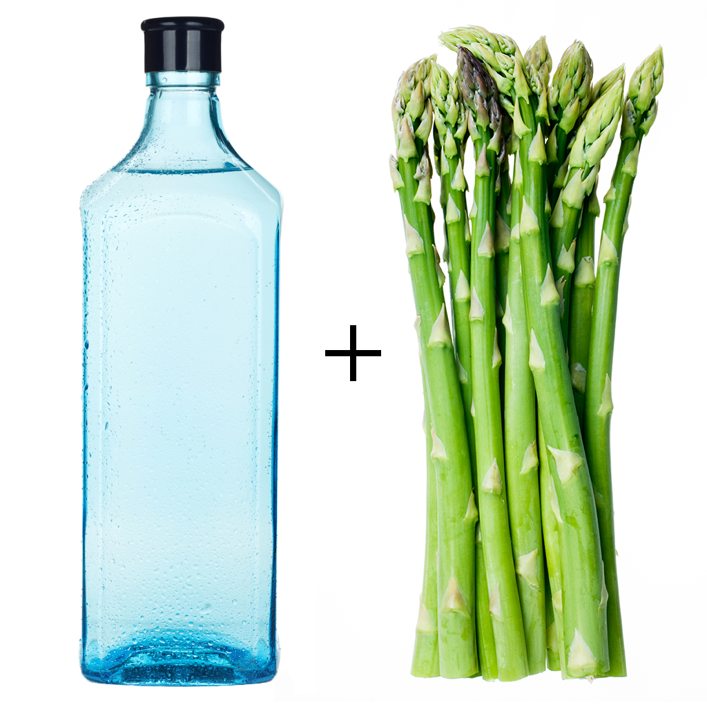 FWX KITCHEN TRASH GIN BOTTLE AND ASPARAGUS