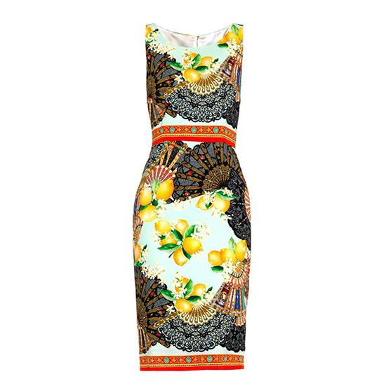 Dolce & Gabbana Fan- and Lemon-Print Dress
