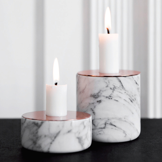 Menu Marble and Copper Candleholder