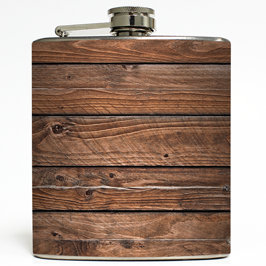 Distressed Brown Old Barn Wood Whiskey Flask