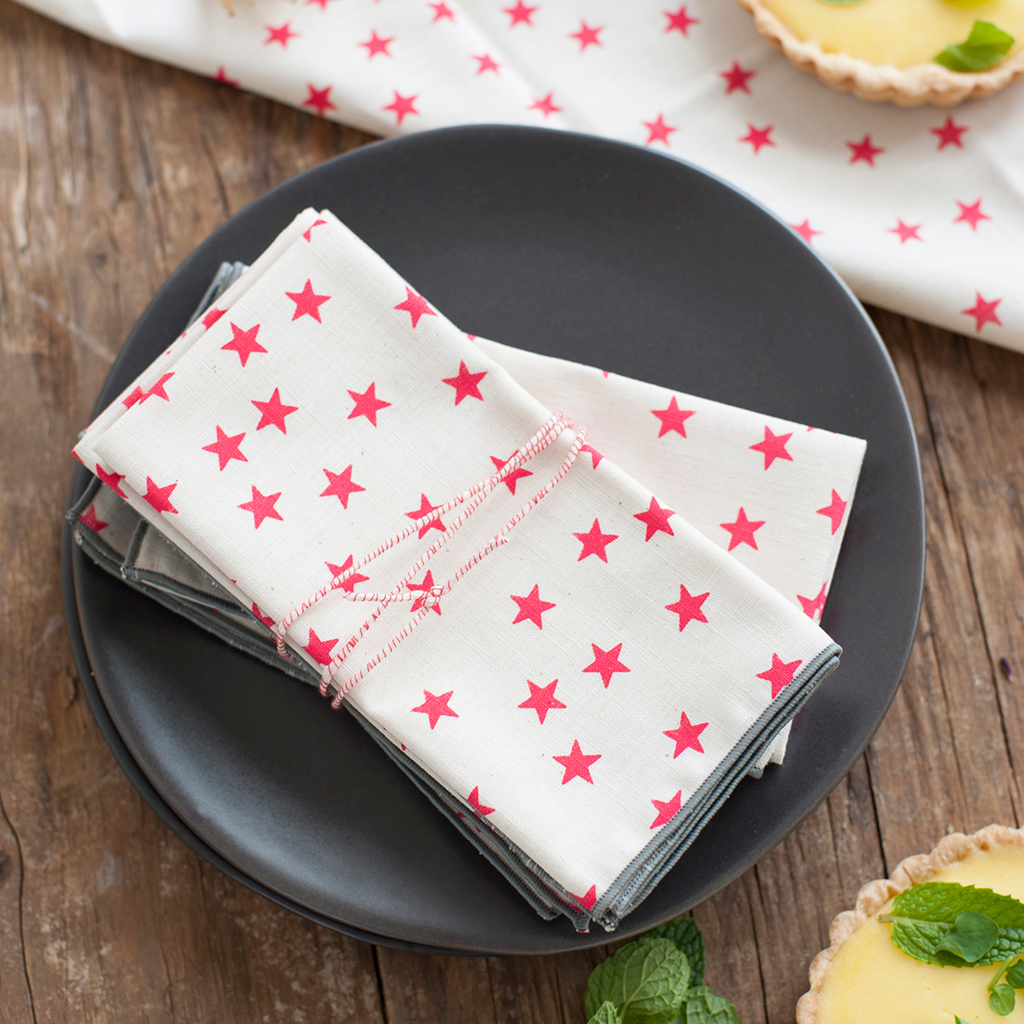 Anna Joyce Watermelon Stars Cloth Napkin Set