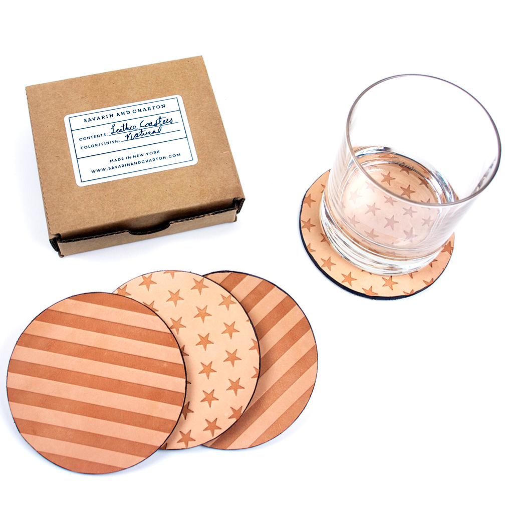 Savarin and Charton Leather Coasters