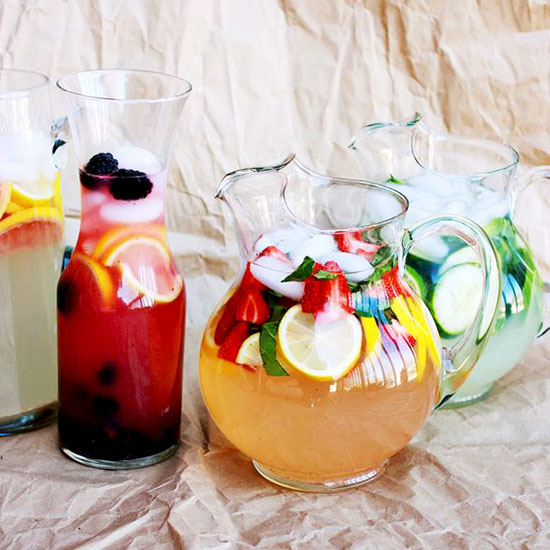 Spike beverages with fruit and flowers