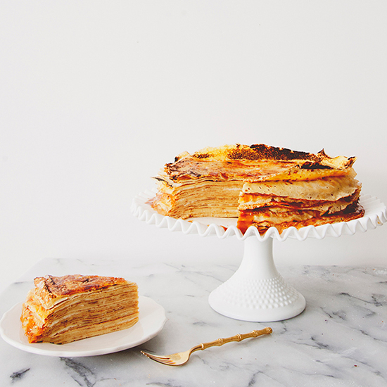 Crepe Cake with Salted Caramel, Mascarpone and Cinnamon Pear Puree