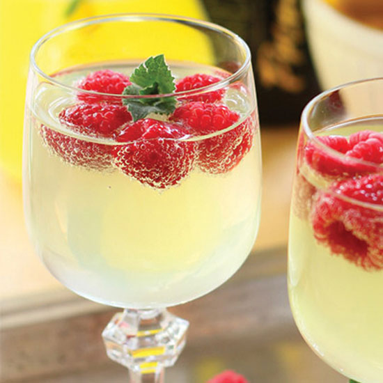 Limoncello Prosecco Cooler with Raspberry Ice Cubes