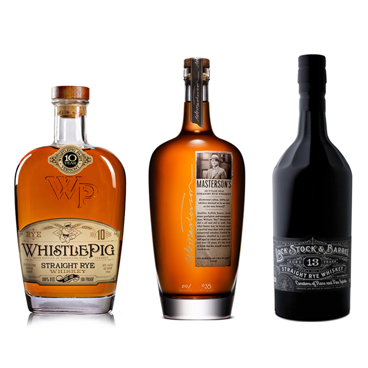 Lock, Stock and Barrel 13 Year Old Rye ($118), Masterson's 10 Year Old Straight Rye ($63), and WhistlePig Straight Rye ($75)