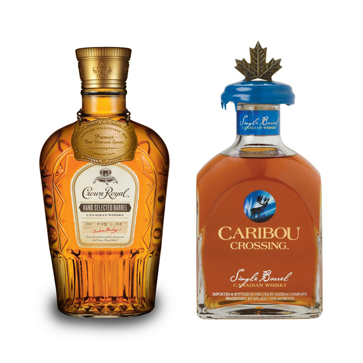 Crown Royal Single Barrel Whisky ($46) and Caribou Crossing Single Barrel Canadian Whisky ($55)