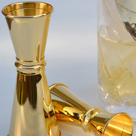 24K Gold-Plated 1.75 / 1oz. Jigger with Lines ($36)