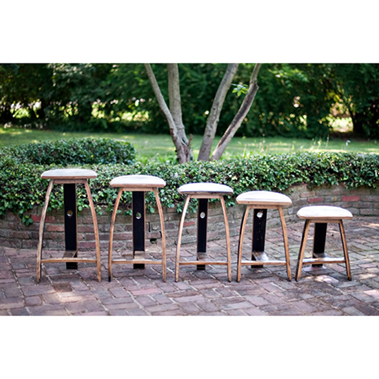 Bourbon Barrel Barstools, $190 to $240