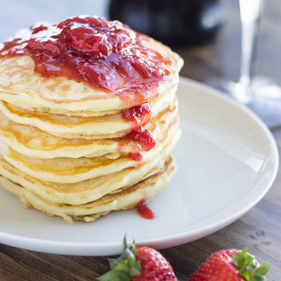 Fluffy Strawberry and Champagne Pancakes