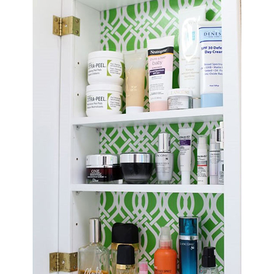 Brighten a Medicine Cabinet with Shelf Liner