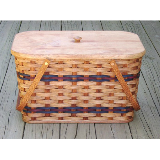 Amish Handmade Large Picnic Basket with Tray
