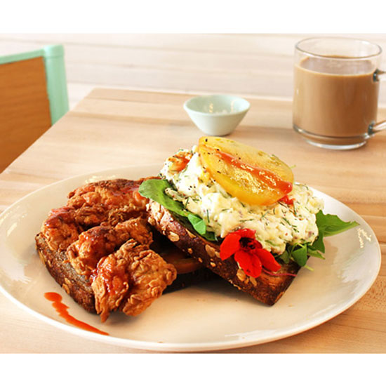 Egg Salad Sandwich with Fried Chicken at Egg Shop