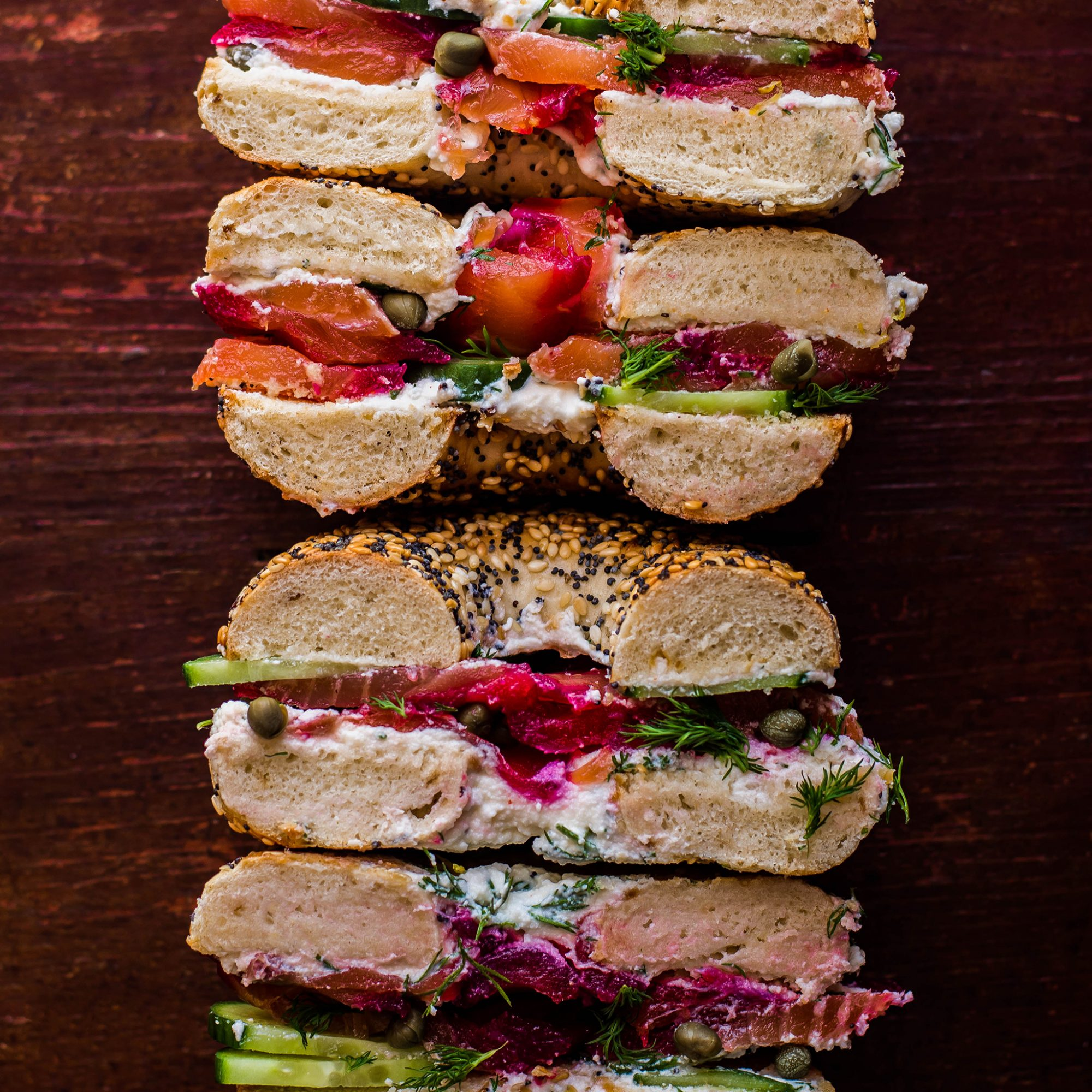 FWX STACKED BEET CURED SALMON WITH BAGEL