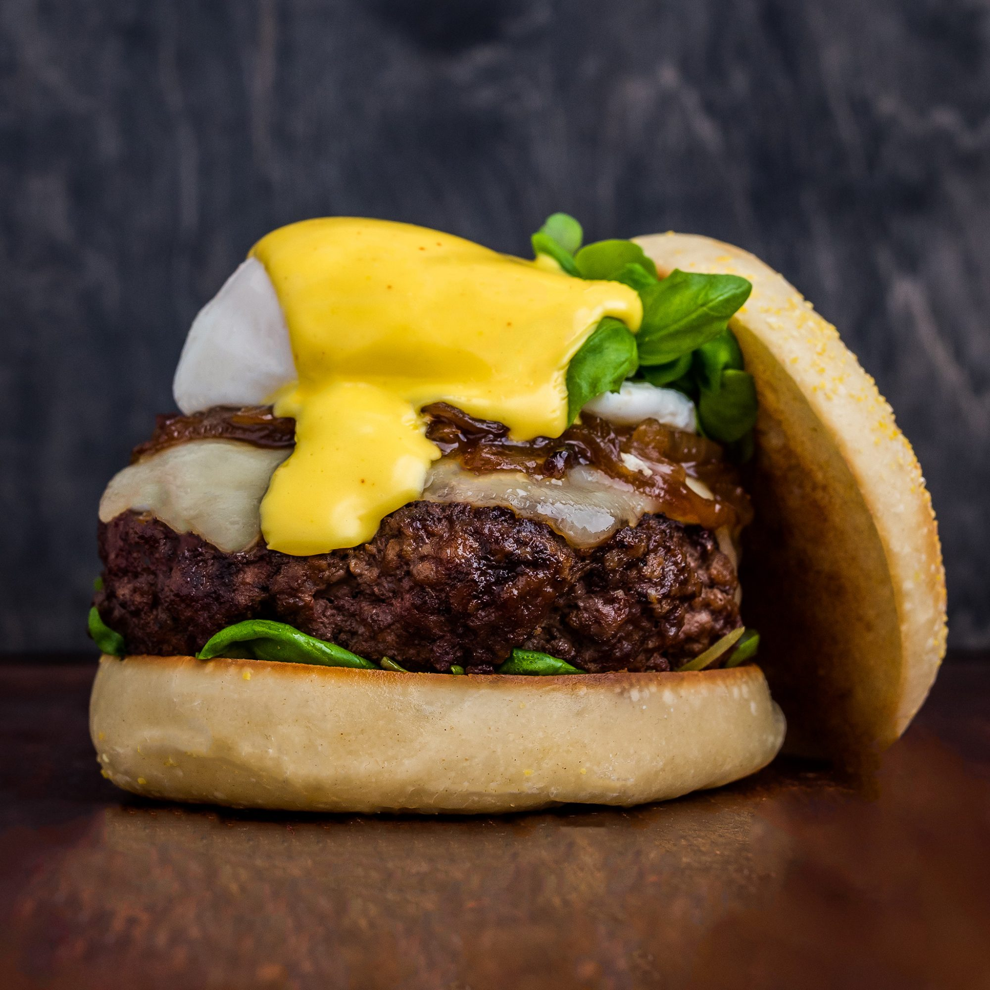 FWX STACKED EGGS BENEDICT BURGER