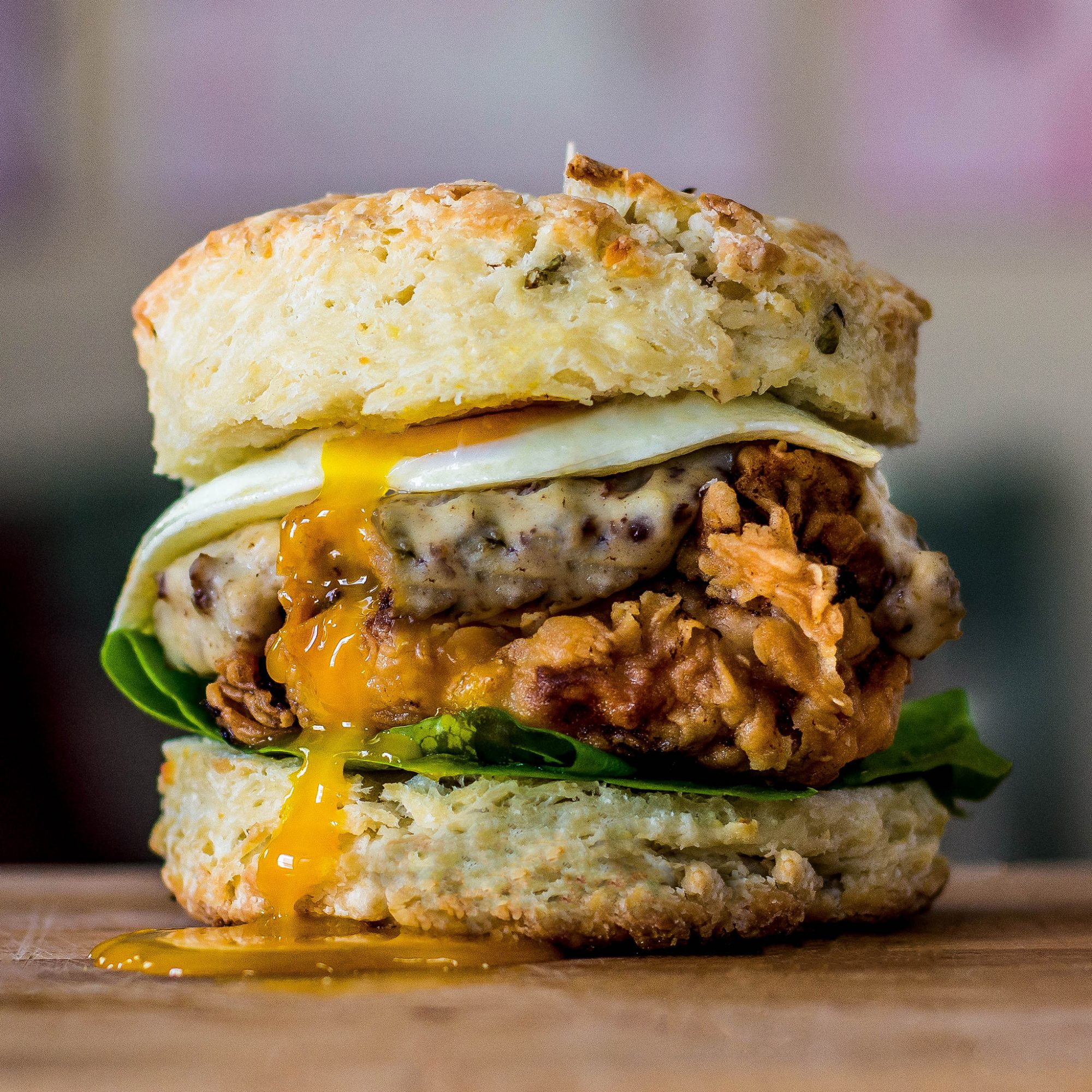 Fried Chicken & Biscuit Burger with Country Sausage Gravy