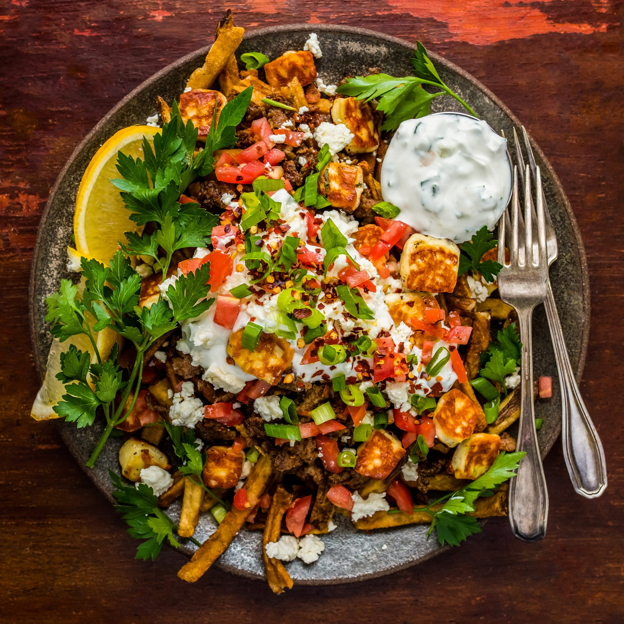Loaded Greek Fries with Halloumi, Spiced Lamb, and Tzatziki