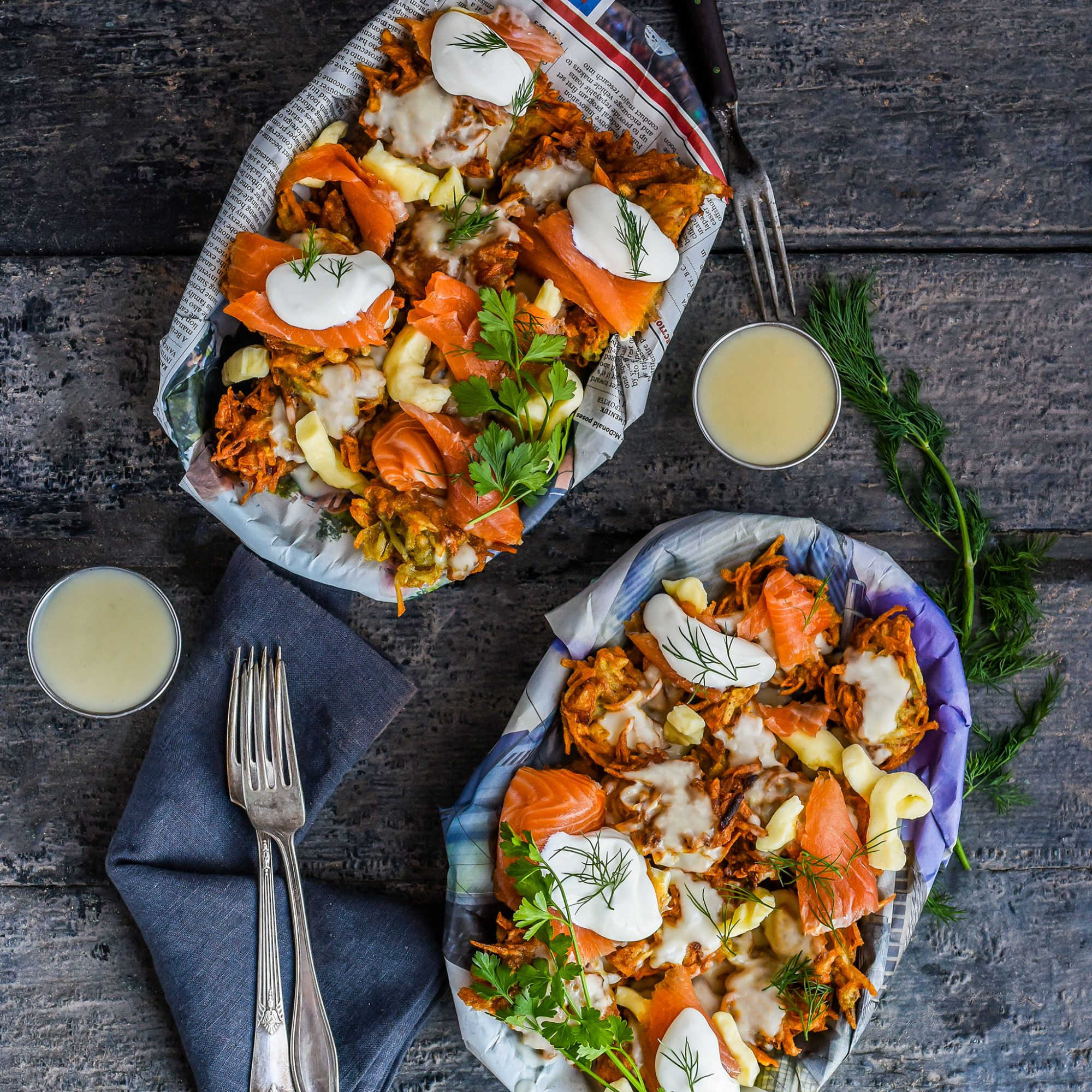 Latke Poutine with Smoked Salmon & Sour Cream Gravy