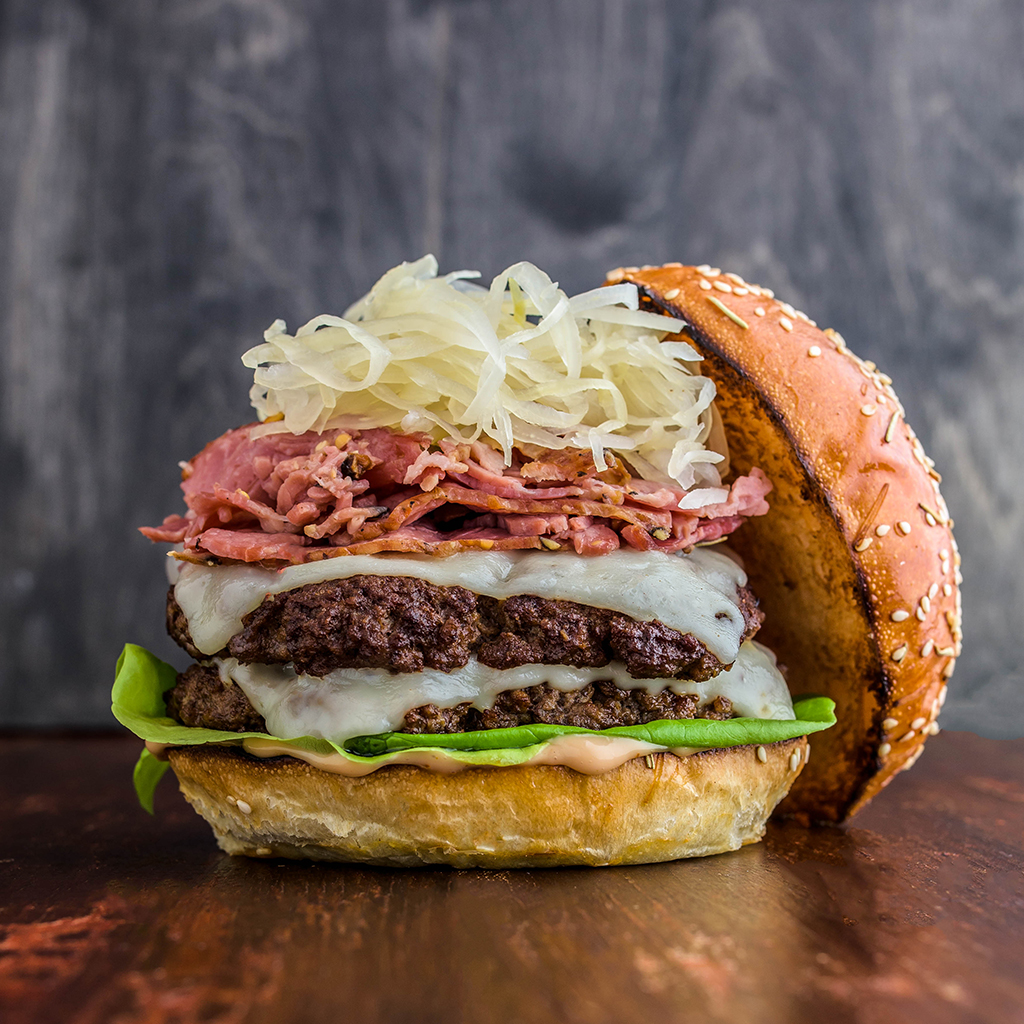 Smoked Meat Reuben Burger